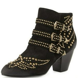 ASH Joyce black suede and gold stud ankle boot